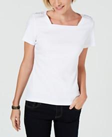 Karen Scott Petite Square-Neck T-Shirt, Created for Macy's