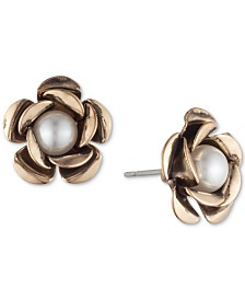 lonna & lilly Gold-Tone Imitation Pearl Flower Stud Earrings
