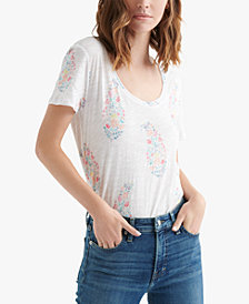 Lucky Brand Cotton Paisley-Print T-Shirt