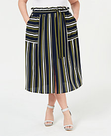 Monteau Trendy Plus Size Paperbag Midi Skirt