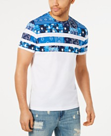 American Rag Men's Patchwork Stripe Graphic T-Shirt, Created for Macy's