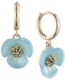 Gold-Tone Imitation Mother-of-Pearl Flower Drop Off Small Hoop Earrings