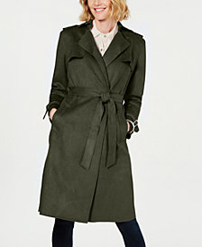 T Tahari Faux-Suede Belted Trench Coat