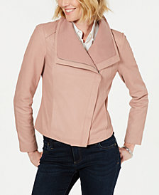 T Tahari Andreas Asymmetrical Leather Moto Jacket