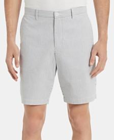 """Calvin Klein Men's Seersucker Flat-Front 9"""" Shorts"""