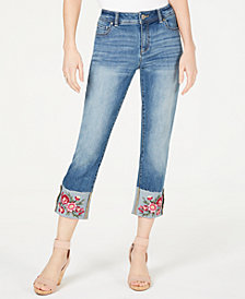 I.N.C. Embroidered-Flower Cropped Straight-Leg Jeans, Created for Macy's