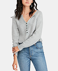Free People Sweetheart Cotton V-Neck Sweater