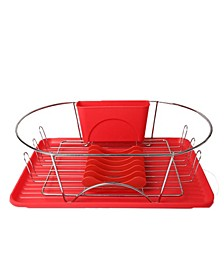 "17"" Red and Silver Dish Rack with Detachable Utensil holder and 6 Attachable Plate Positioner"