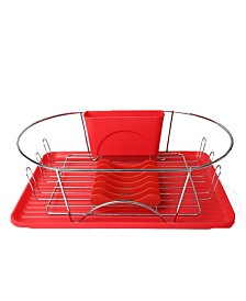 "MegaChef 17"" Red and Silver Dish Rack with Detachable Utensil holder and 6 Attachable Plate Positioner"