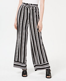 Ultra Flirt Juniors' Striped Wide-Leg Pants