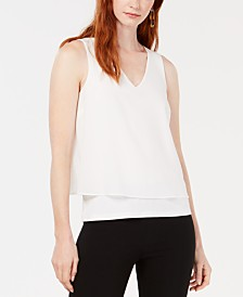 Bar III Mixed Media Split Back Tank Top, Created for Macy's