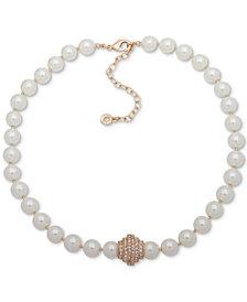 "Anne Klein Gold-Tone Pavé Bead & Imitation Pearl Collar Necklace, 16"" + 3"" extender"
