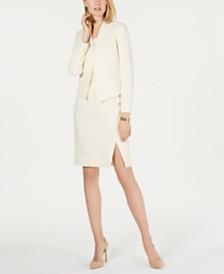 Nine West Crepe Flyaway Jacket & Slit Skirt