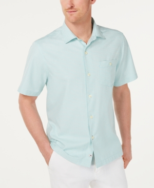 Tommy Bahama T-shirts MEN'S CHECK-IN THE TROPICS REGULAR-FIT WINDOWPANE CHECK CAMP SHIRT