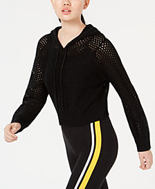 Planet Gold by Golden Touch Juniors' Knit Mesh Cropped Hoodie