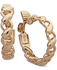 Anne Klein Gold-Tone Link Hoop E-Z Clip-on Earrings