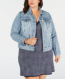 MICHAEL Michael Kors Plus Size Frayed Cotton Denim Jacket