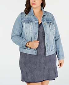 MICHAEL Michael Kors Plus Size Frayed Cotton Denim Jacket