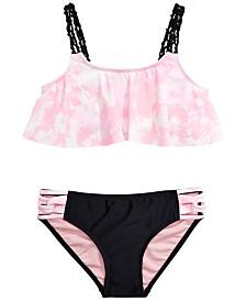 Summer Crush Big Girls 2-Pc. Printed Flounce Bikini