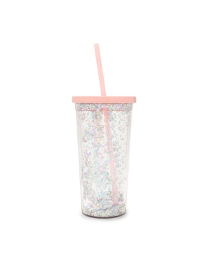 ban. do Sip Sip Tumbler With Straw (Deluxe), Glitter Bomb (Pink)