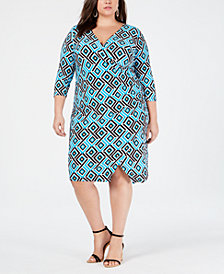 I.N.C. Plus Size Geo-Print Wrap Dress, Created for Macy's