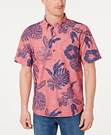 Tommy Bahama Men's Tatau Fronds Classic Fit Hawaiian Chambray Popover Shirt