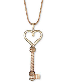 """Heart Key Pendant Necklace in 14k Gold over Sterling Silver, 18"""" + 2"""" extender"""