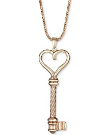 "Heart Key Pendant Necklace in 14k Gold over Sterling Silver, 18"" + 2"" extender"