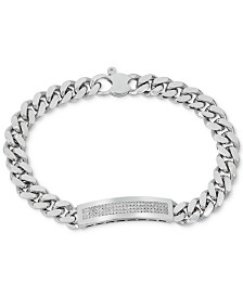 Men's Diamond (1/2 ct. t.w.) ID Bracelet in Sterling Silver