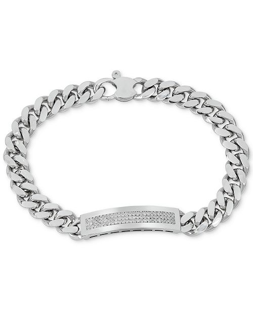 Macy's Men's Diamond (1/2 ct. t.w.) ID Bracelet in Sterling Silver