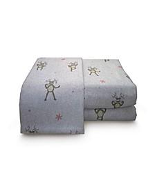 Reindeer Heather Ground Flannel Sheet Set California King