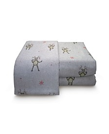 Reindeer Heather Ground Flannel Sheet Set California King