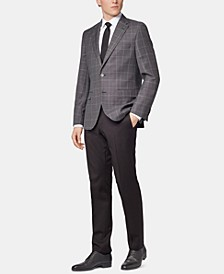 BOSS Men's Regular/Classic Fit Checked Virgin Wool Jacket