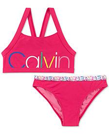 Calvin Klein Big Girls 2-Pc. Logo-Print Bikini Swimsuit