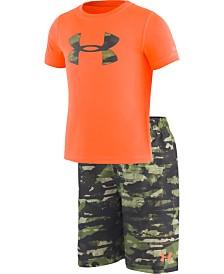 Under Armour Toddler & Little Boys 2-Pc. Rash Guard & Printed Swim Trunks Set