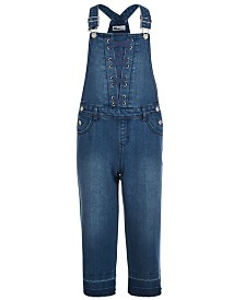 Epic Threads Big Girls Lace-Up Denim Overalls, Created for Macy's