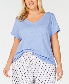 Charter Club Plus Short-Sleeve Knit Pajama Shirt, Created for Macy's