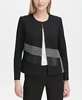 2a031df57ad Calvin Klein Collarless Mixed-Media Jacket