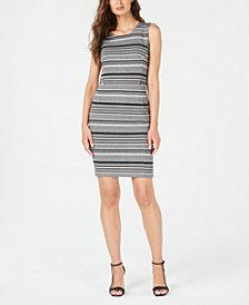Calvin Klein Striped Jacquard Zipper-Trim Sheath Dress