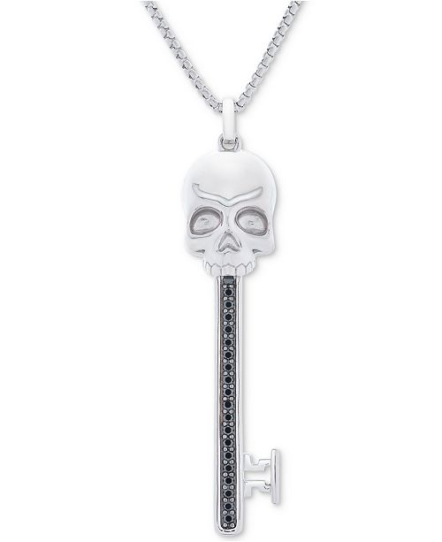 "Macy's Men's Black Diamond (1/4 ct. t.w.) Skull Key 22"" Pendant Necklace in Sterling Silver & Black Rhodium"
