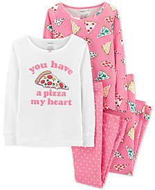 Carter's 4-Pc. Little Girls Pizza Graphic Cotton Pajamas Set