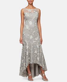 Alex Evenings Petite Embroidered High-Low Gown