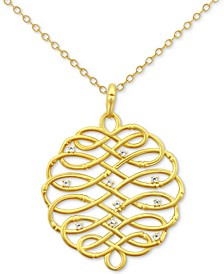 Diamond Accent Infinity-WeavePendant Necklace in 18k Gold-Plated Sterling Silver, 16""