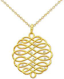 Kesi Jewels Diamond Accent Infinity-WeavePendant Necklace in 18k Gold-Plated Sterling Silver, 16""