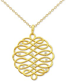 """Kesi Jewels Diamond Accent Infinity-WeavePendant Necklace in 18k Gold-Plated Sterling Silver, 16"""""""