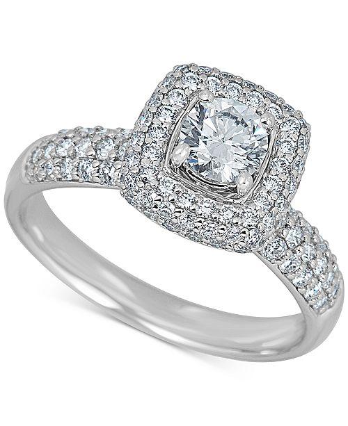 Macy S Diamond 1 3 8 Ct T W Cushion Halo Ring In 14k White Gold