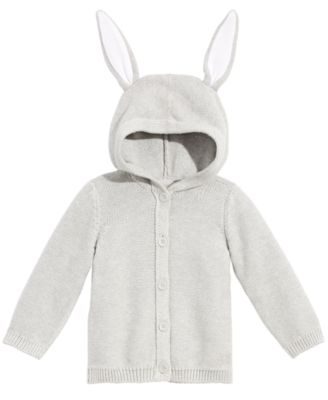 Baby Boys or Girls Bunny-Ear Hooded Cotton Sweater, Created for Macy's