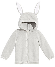 First Impressions Baby Boys or Girls Bunny-Ear Hooded Cotton Sweater, Created for Macy's