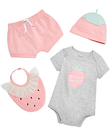 First Impressions Baby Girls Strawberry Bodysuit, Shorts, Bib & Cap Separates, Created for Macy's