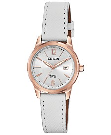Citizen Women's Quartz White Leather Strap Watch 28mm